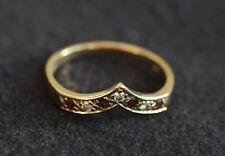 Vintage 9ct 375 Gold Diamond & Ruby Wishbone Ring - Size P