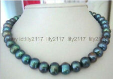 AA + Huge 18Inch 12-13mm tahitian peacock green pearl necklace