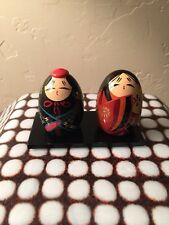 Vintage Usaburo Kokeshi Japanese Wooden Dolls On Platform