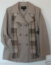 "London Fog NWT Women's 27.5"" Camel Tan Heather Wool Blend Pea Coat w/ Scarf"