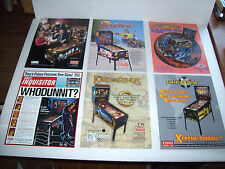 Lot Of (6) ORIGINAL PINBALL MACHINE Flyers BALLY STERN WILLIAMS LOTR set #2
