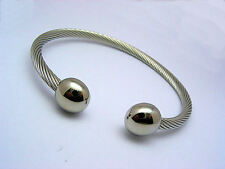 Bangle Cable Bracelet Stainless Steel 316L Cuff Adjustable Mens Ladies Unisex