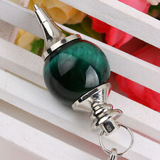Green Tiger's Eye Stone Gemstone Ball Dowsing Reiki Chakra Pendulum with Chain