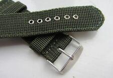 Cincha De Lona Militar Verde Caqui 22mm Reloj Correa de banda Pulsera BNWOT