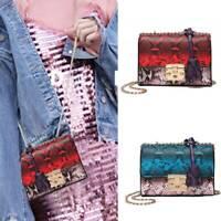Women Snake Skin Crossbody Shoulder Bag Leather Chain Casual Small Purse Handbag