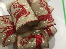 Extra Wide 2.52 6.3cm Wired Edged Hessain Ribbon  Glitter Red Reindeer