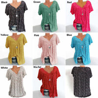 Plus Size Women Short Sleeve T-Shirt V Neck Summer Casual Baggy Blouse Tops