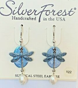 SILVER FOREST BLUE DRAGONFLY SURGICAL STEEL EAR WIRE DROP DANGLE EARRINGS