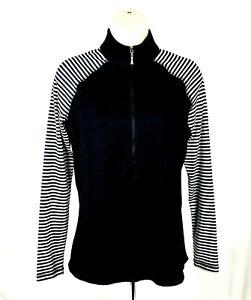 Jofit~Black & White L/S Mock Neck 1/2 Zip Golf Athletic Pullover~Womens XS~EUC