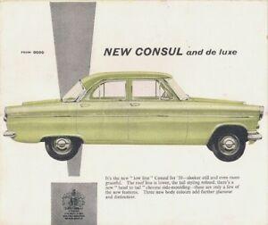 Ford Consul Mk2 Saloon 1959-60 UK Market Foldout Sales Brochure Standard De Luxe