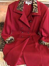 Chetta B Red Wool Dress Sz 12 Double Button Down Fully Lined Cheetah Trim. EPOC!