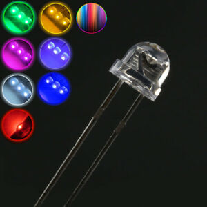 5/8mm Clear Straw Hat LEDs Red,Yellow,Blue,White,Green,Pink Lamp Emitting Diode