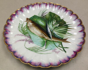 Antique Hand Painted Fish Plate Scalloped Purple French Haviland J Soustre ?