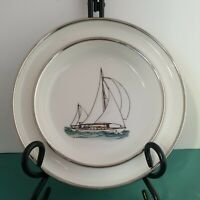 Y.E SODERBERG NAUTICAL PLATE  SAILBOAT OCEAN HANDPAINT MYSTIC ARTIST CT ARTWORK