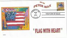 PETER MAX   FLAG WITH HEART          FDC- DWc  CACHET