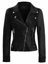 Womens Faux Suede Biker Jacket Pale Blue Cobalt Black Coat Size 8 10 12 14 New