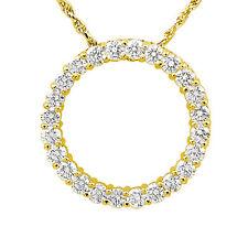"1.50 Ct Circle Style Round G Natural Diamond Pendant 14k Gold Yellow 16"" Chain"