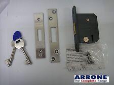 """ARRONE HOPPE 63mm (2.5"""") 3 LEVER DEADLOCK DEAD LOCK SATIN CHROME -  NEW"""