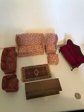 Wood Dollhouse Furniture Lot Vintage? Floral Couches,Velvet Couch,rug,Table 9p