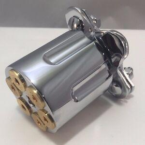 Chrome Steering Wheel Spinner / Suicide Knob 44 Mag Gun Revolver