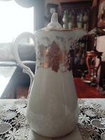 "ANTIQUE Dresden Meissen Germany Porcelain Chocolate Pot W/Gold Leave Motif~10""HT"