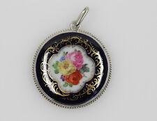 Meissener Porzellan Anhänger Silber Blumen Cobaltblau Meissen