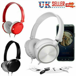 Wired Bass HiFi Stereo Headphones Headset Over Ear Adjustable For iPhone Samsung