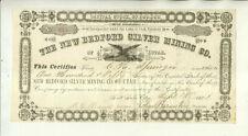 1881 NEW BEDFORD SILVER MINING COMPANY UTAH TERRITORY STOCK CERTIFICATE