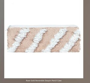 Rose Gold And White Reversible Sequin Pencil Case