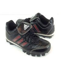 Adidas Boys Soccer Cleats Outdoors Black Three Stripe Lace Up Youth Size 3