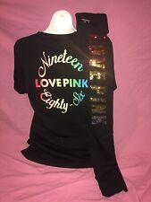 Victoria's Secret PINK Legging Rainbow Sequin Bling Campus Tee Set New L XL Cute