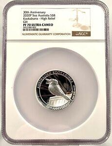 2020 Australia $8 Kookaburra High Relief 5 oz Silver Proof Coin - NGC PF 70 UCAM