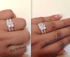 925 Silver Ladies Princess Cut Wedding Engagement Bridal Ring Set