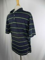Callaway Golf Men's Large Lime Green & Blue Stripe Polo Shirt S/S