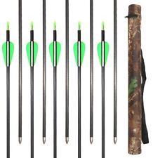 12X Archery Hunting Carbon Arrows 600 & Camo Quiver Compound Recurve Bow Target