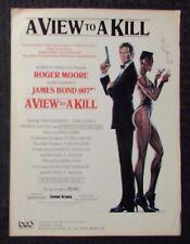 1985 James Bond 007 VIEW TO A KILL Sheet Music FN- 5.5 6pgs