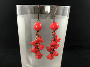 Drop pierced earrings upcycled from vintage Czech glass beads