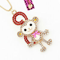Women's Enamel Crystal Cute Monkey Pendant Long Chain Betsey Johnson Necklace