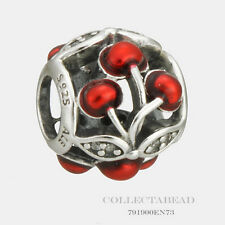 Authentic Pandora Silver Glossy Red Enamel Sweet Cherries Bead 791900EN73