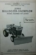 Sears Dozer Plow Blade Implement Garden Tractor Owner Amp Parts Manual 917251410