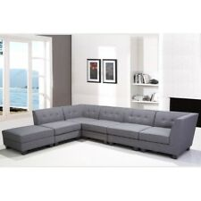 New Contemporary 6pc Sectional Sofa Set Grey Linen Fabric Living Room Furniture