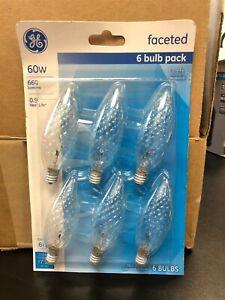 GE Classic 60-Watt B10 Light Fixture Faceted Candelabra Light Bulb (6-Pack)