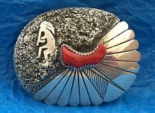 IHMSS Indian Hand Made STERLING SILVER Red Coral Kokopelli F. Yazzie BELT BUCKLE