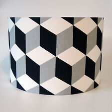 Black & White, Monochrome Geometric Design Fabric Ceiling Light or Lamp Shade