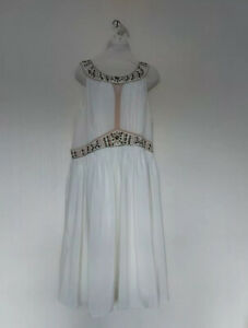 Boden Dress Size 18 Greek Grecian Style Cream Ivory Bead Sequin Embellished 18L