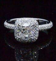 Lovely 2.08 Ct Cushion Cut Diamond Halo Micro Pave Engagement Ring 14K GIA I,VS2