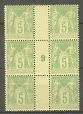 "FRANCE STAMP TIMBRE N° 102 "" SAGE 5c TYPE III BLOC DE 6 MILLESIME "" NEUF xx TTB"