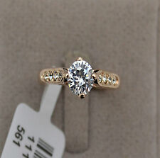 Solitaire 1ct Diamond Sterling Silver Gold Plated Engagement Rings Szie 8