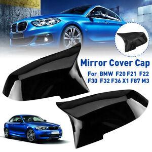 2x Wing Rearview Mirror Cover Cap Black For BMW F20 F21 F22 F30 F36 X1 E8