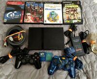 Sony PlayStation 2 PS2 Slim Black Console Bundle With 4 Games and More! - Tested